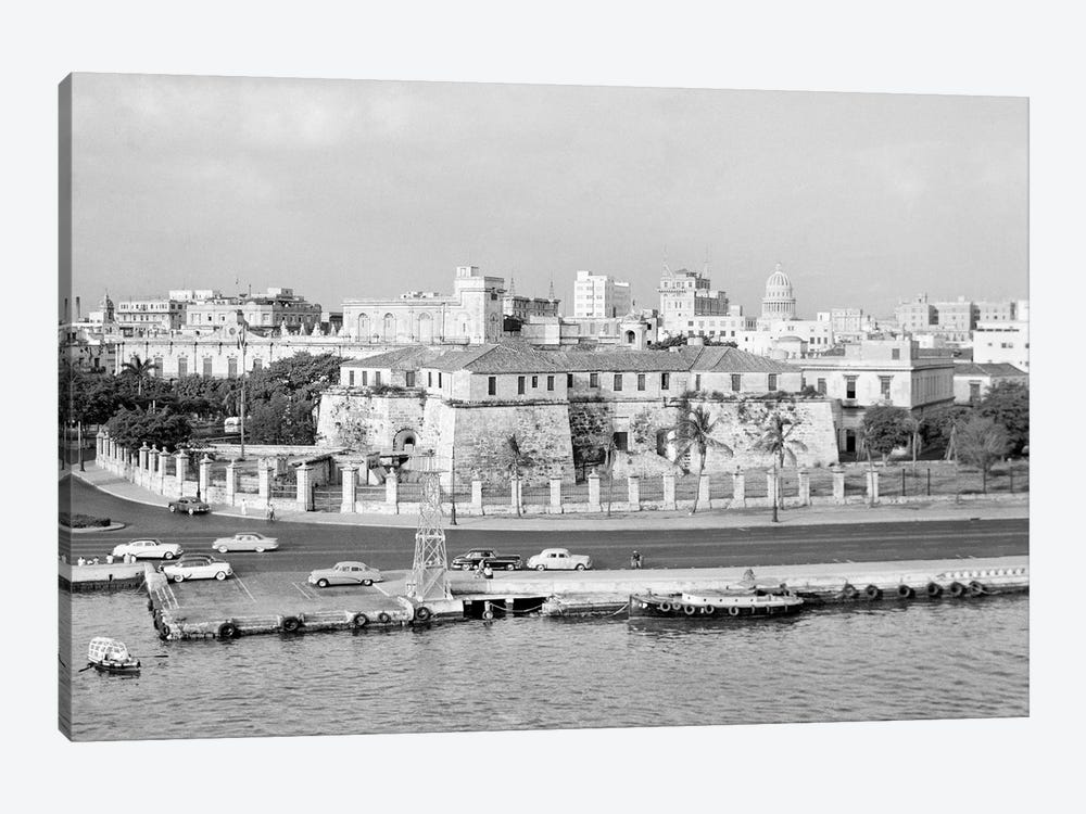 1950s Skyline View Of Castillo de la Real Fuerza In Foreground And Capitol Dome In Distance Havana Cuba by Vintage Images 1-piece Canvas Art