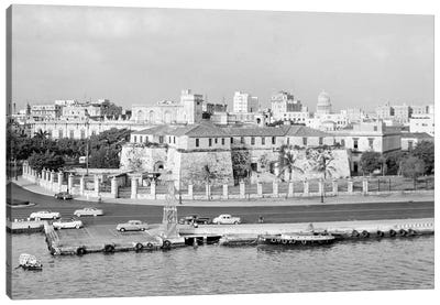 1950s Skyline View Of Castillo de la Real Fuerza In Foreground And Capitol Dome In Distance Havana Cuba Canvas Art Print