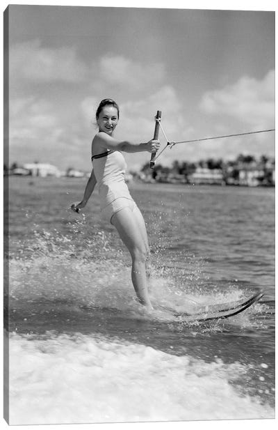 1950s Smiling Woman In Bathing Suit Water Skiing Waving One Hand Looking At Camera Canvas Art Print