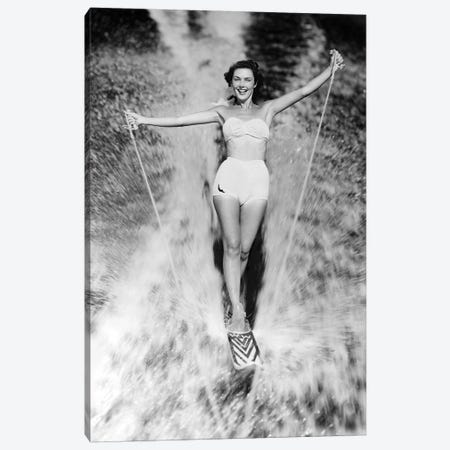 1950s Smiling Woman In White Two Piece Bathing Suit Aquaplaning Water Skiing Looking At Camera Canvas Print #VTG344} by Vintage Images Canvas Artwork