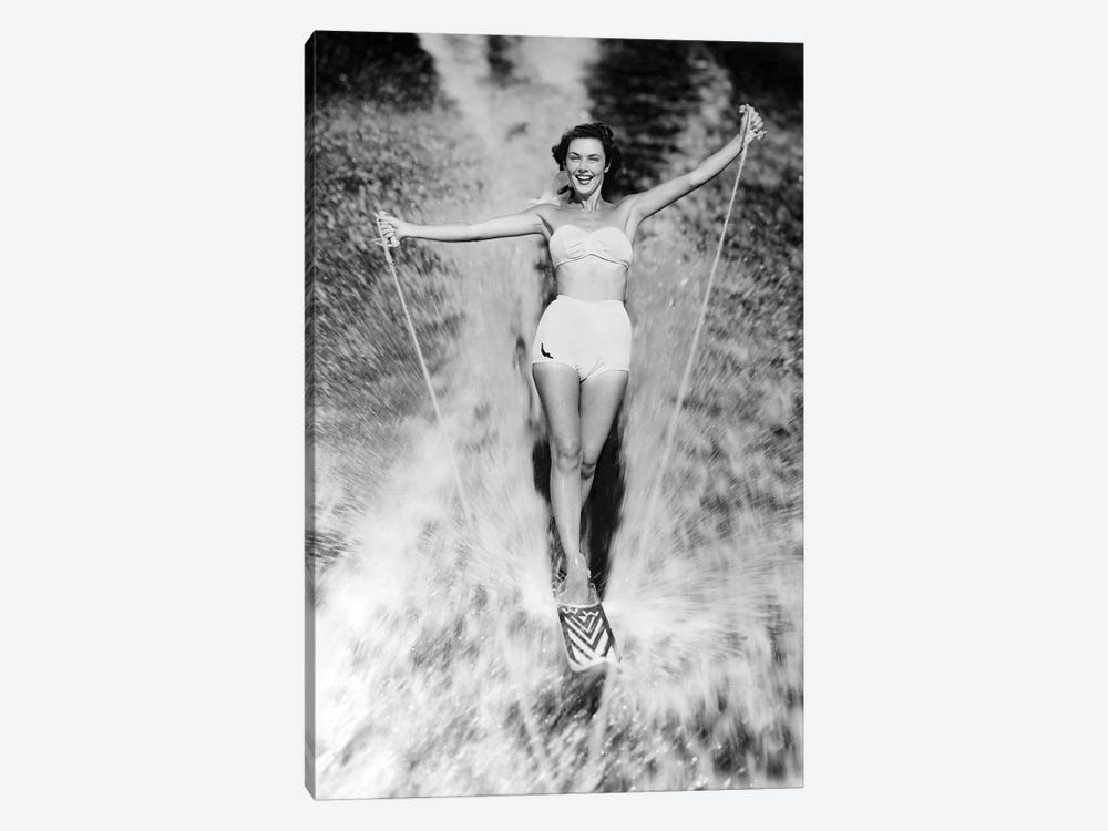 1950s Smiling Woman In White Two Piece Bathing Suit Aquaplaning Water Skiing Looking At Camera 1-piece Canvas Artwork