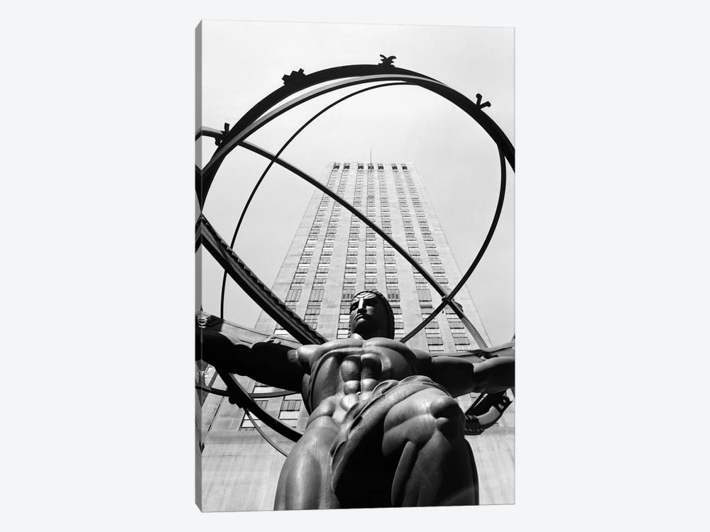 1950s Statue Of Atlas At Rockefeller Center Midtown Manhattan USA by Vintage Images 1-piece Canvas Wall Art