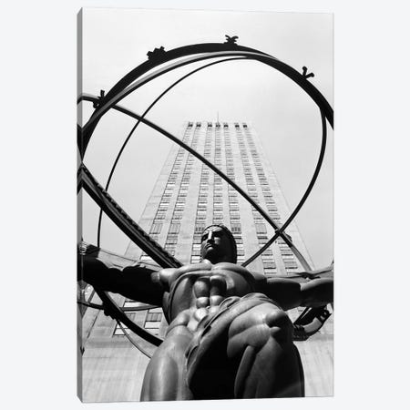 1950s Statue Of Atlas At Rockefeller Center Midtown Manhattan USA Canvas Print #VTG346} by Vintage Images Canvas Art