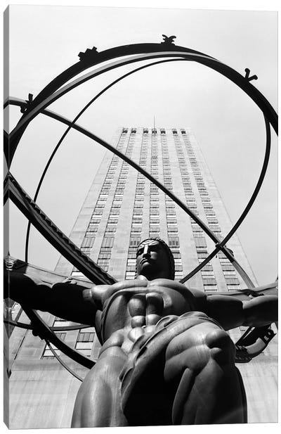 1950s Statue Of Atlas At Rockefeller Center Midtown Manhattan USA Canvas Art Print