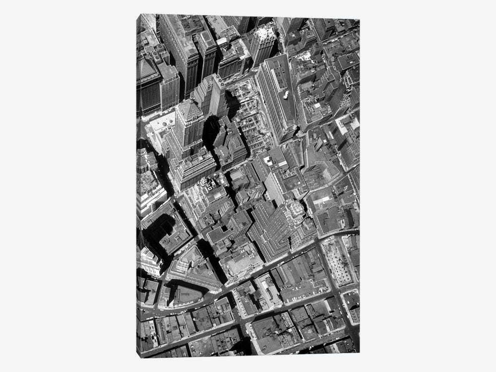 1950s Straight Down Vertical Of The Wall Street Section Of Downtown New York City NY USA by Vintage Images 1-piece Canvas Print