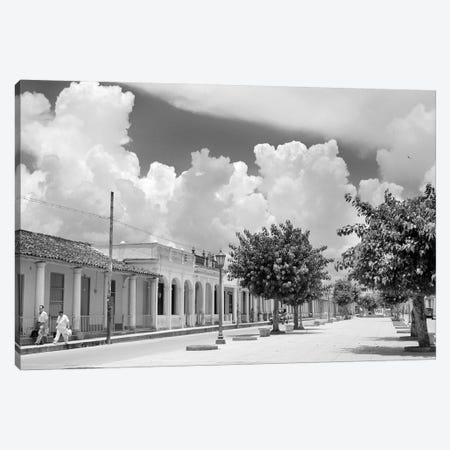 1950s Street Scene With Trees In The Central Boulevard Of Pinar del Rio Pinar del Rio Province Cuba Canvas Print #VTG348} by Vintage Images Canvas Print