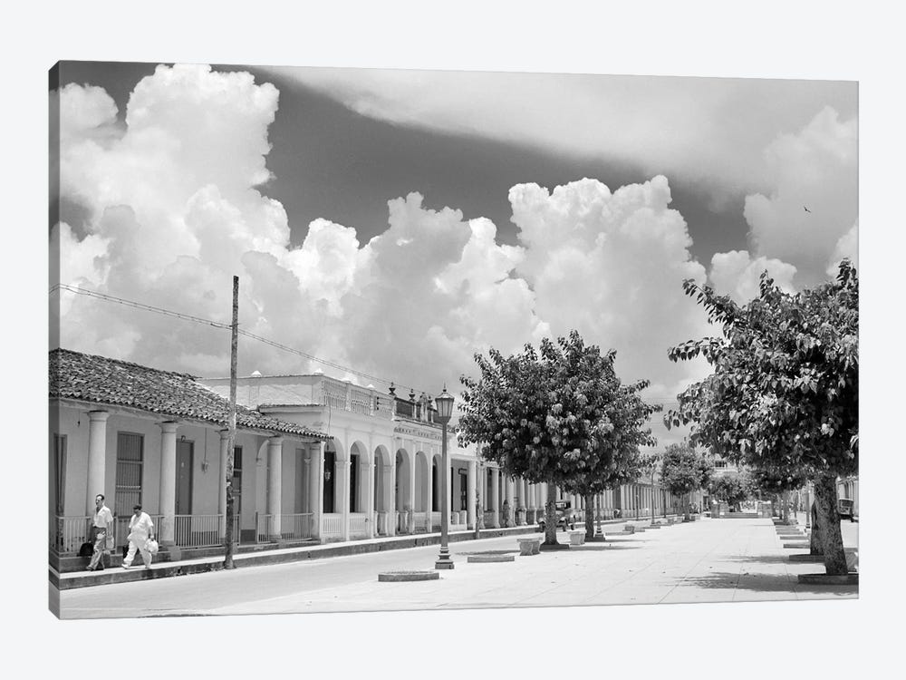 1950s Street Scene With Trees In The Central Boulevard Of Pinar del Rio Pinar del Rio Province Cuba by Vintage Images 1-piece Canvas Artwork