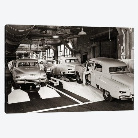 1950s Studebaker Automobile Production Assembly Line Canvas Print #VTG349} by Vintage Images Art Print