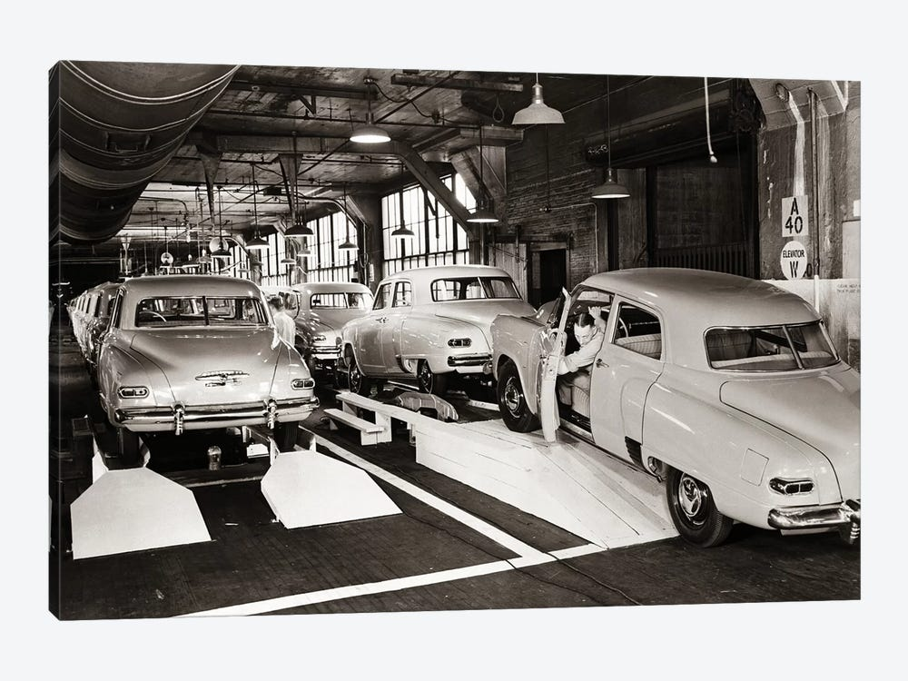 1950s Studebaker Automobile Production Assembly Line by Vintage Images 1-piece Art Print