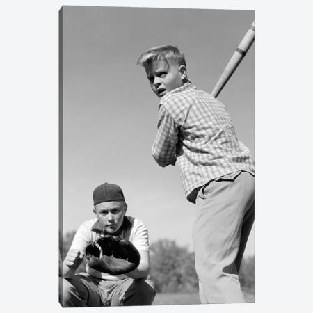 1950s Teen Boy At Bat With Catcher Crouching Behind Him Canvas Print #VTG350} by Vintage Images Canvas Artwork