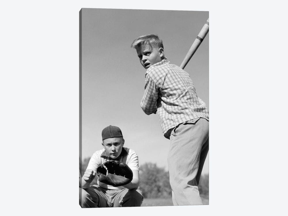 1950s Teen Boy At Bat With Catcher Crouching Behind Him by Vintage Images 1-piece Art Print