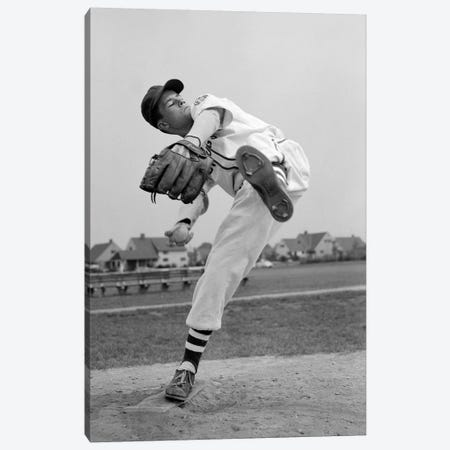 1950s Teen In Baseball Uniform Winding Up For Pitch Canvas Print #VTG351} by Vintage Images Canvas Artwork