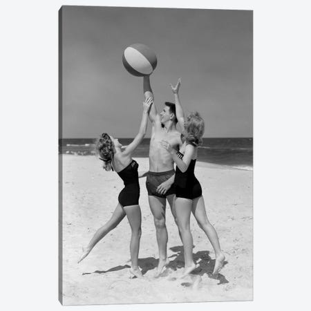 1950s Teens Jumping For Beach Ball Wearing Swim Suits Canvas Print #VTG352} by Vintage Images Canvas Artwork