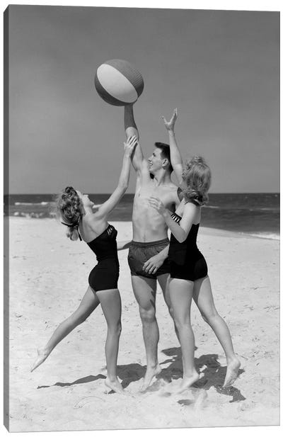 1950s Teens Jumping For Beach Ball Wearing Swim Suits Canvas Art Print