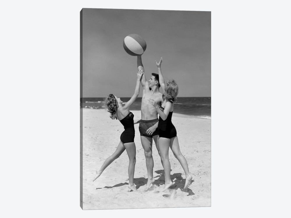 1950s Teens Jumping For Beach Ball Wearing Swim Suits 1-piece Canvas Print