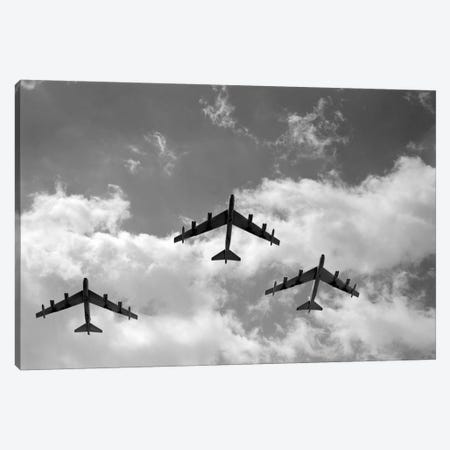 1950s Three B-52 Stratofortress Bomber Airplanes In Flight Formation As Seen From The Ground Directly Over Head Canvas Print #VTG355} by Vintage Images Art Print
