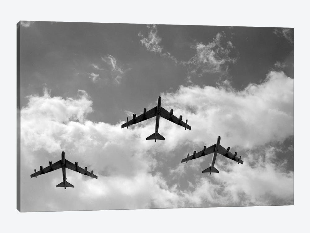 1950s Three B-52 Stratofortress Bomber Airplanes In Flight Formation As Seen From The Ground Directly Over Head by Vintage Images 1-piece Canvas Wall Art