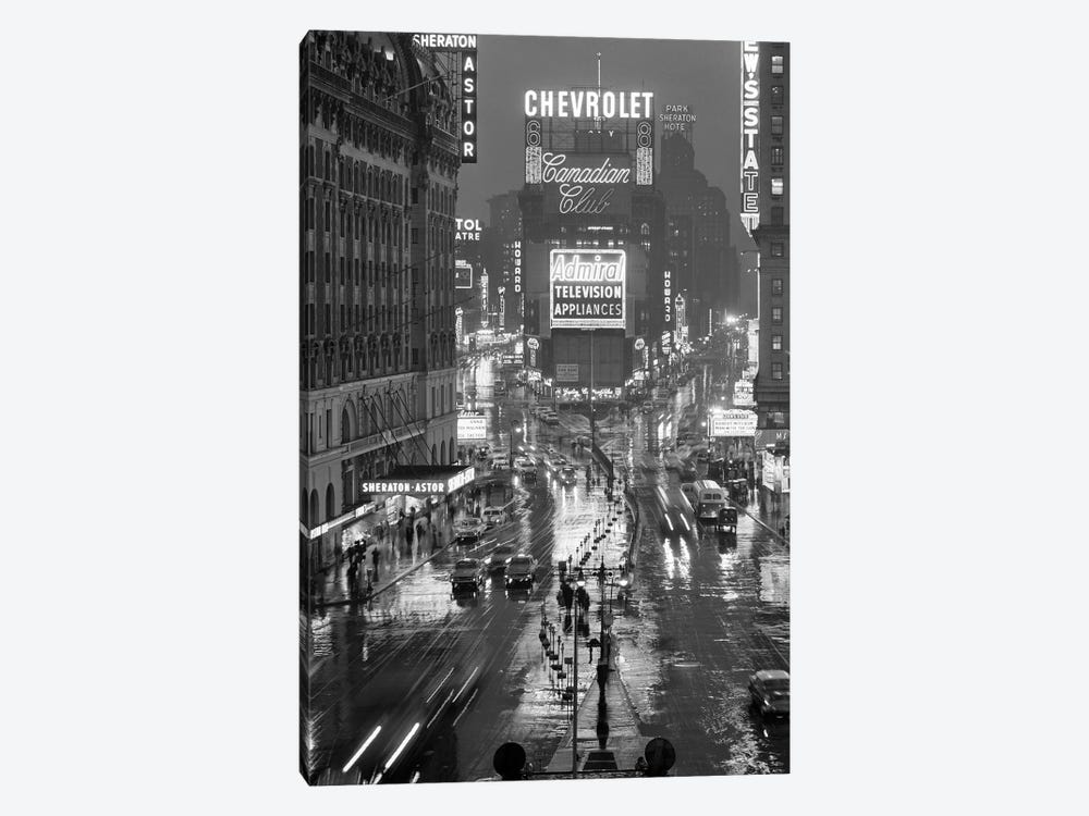 1950s Times Square New York City Looking North To Duffy Square Manhattan USA 1-piece Canvas Art Print