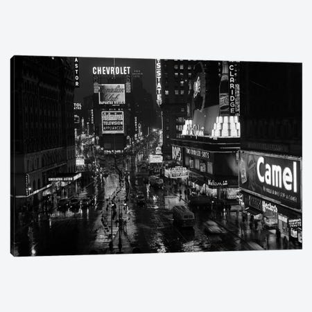 1950s Times Square Night From Times Building Up To Duffy Square Neon Signs Broadway Great White Way Canvas Print #VTG357} by Vintage Images Canvas Print