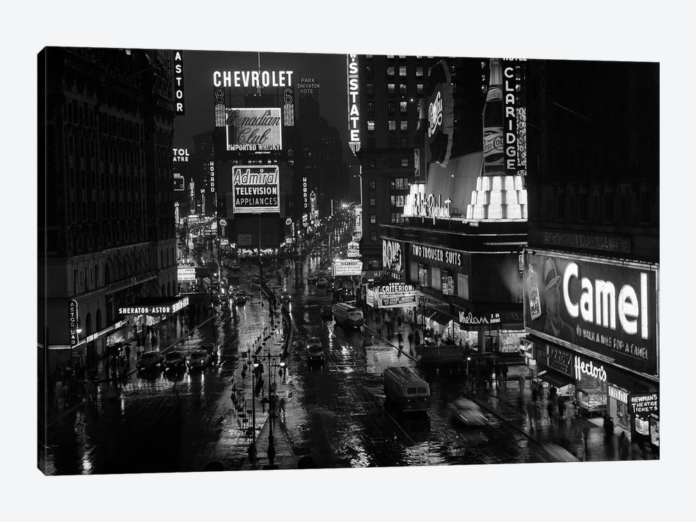 1950s Times Square Night From Times Building Up To Duffy Square Neon Signs Broadway Great White Way by Vintage Images 1-piece Canvas Wall Art