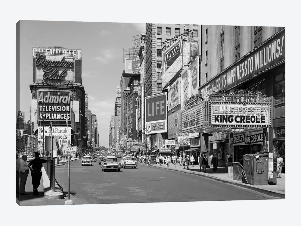 1950s Times Square View North Up 7th Ave At 45th St King Creole Starring Elvis Presley On Lowes State Theatre Marquee NYC USA by Vintage Images 1-piece Canvas Print