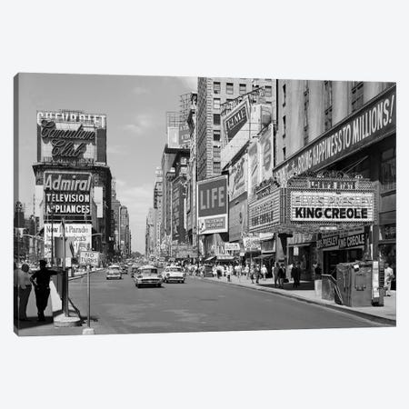 1950s Times Square View North Up 7th Ave At 45th St King Creole Starring Elvis Presley On Lowes State Theatre Marquee NYC USA Canvas Print #VTG358} by Vintage Images Canvas Wall Art