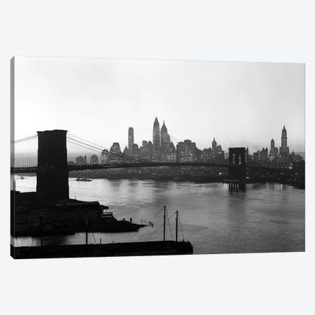 1950s Twilight Skyline Of Lower Manhattan Brooklyn Bridge In Foreground New York USA Canvas Print #VTG359} by Vintage Images Canvas Wall Art