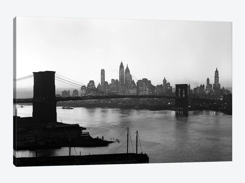 1950s Twilight Skyline Of Lower Manhattan Brooklyn Bridge In Foreground New York USA by Vintage Images 1-piece Canvas Artwork