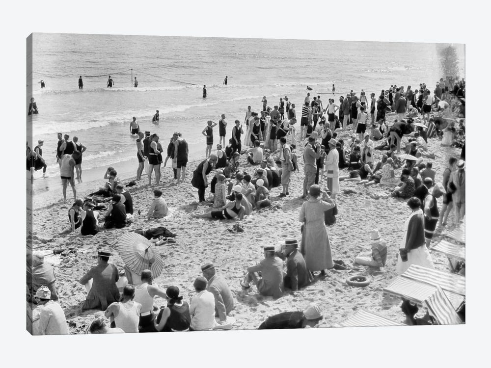1920s Crowd Of People Some Fully Clothed Others In Bathing Suits On Palm Beach In Florida USA by Vintage Images 1-piece Canvas Artwork