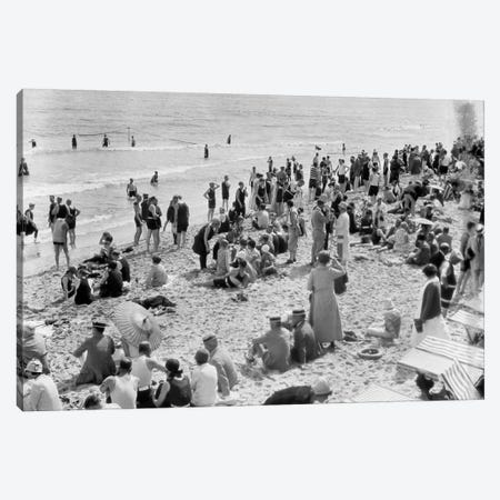 1920s Crowd Of People Some Fully Clothed Others In Bathing Suits On Palm Beach In Florida USA Canvas Print #VTG35} by Vintage Images Canvas Art