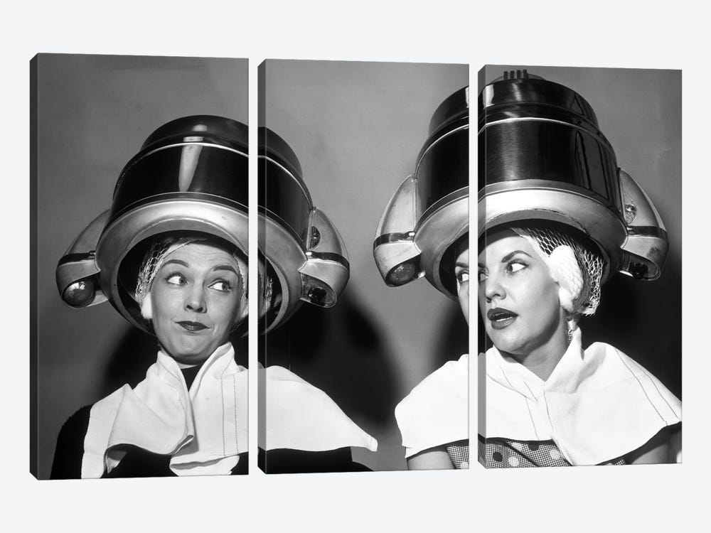 1950s Two Women Sitting Together Gossiping Under Hairdresser Hair Dryer by Vintage Images 3-piece Canvas Art