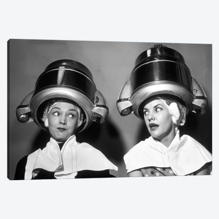 1950s Two Women Sitting Together Gossiping Under Hairdresser Hair Dryer Canvas Print #VTG360} by Vintage Images Art Print