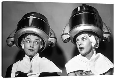 1950s Two Women Sitting Together Gossiping Under Hairdresser Hair Dryer Canvas Art Print