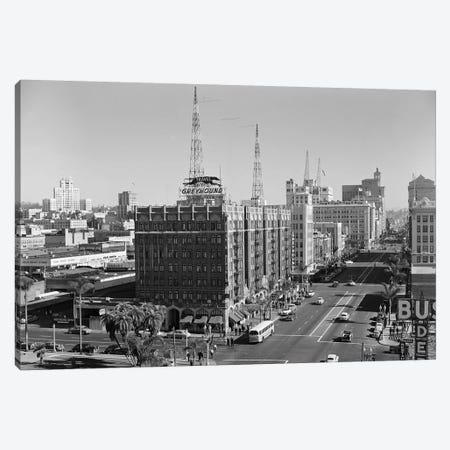 1950s View Of Downtown And Greyhound Bus Station San Diego Ca USA Canvas Print #VTG363} by Vintage Images Canvas Art Print