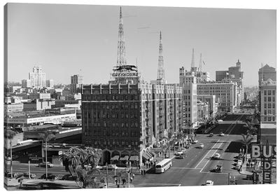 1950s View Of Downtown And Greyhound Bus Station San Diego Ca USA Canvas Art Print