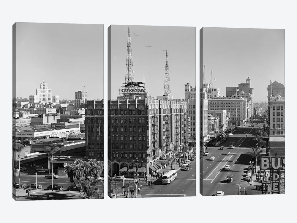 1950s View Of Downtown And Greyhound Bus Station San Diego Ca USA by Vintage Images 3-piece Canvas Print