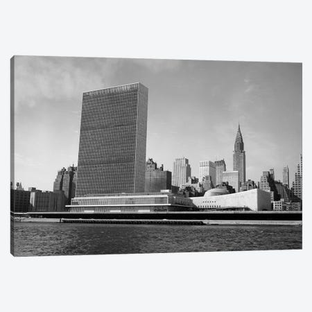 1950s View Of United Nations Building And New York City Skyline From East River New York USA Canvas Print #VTG364} by Vintage Images Canvas Wall Art