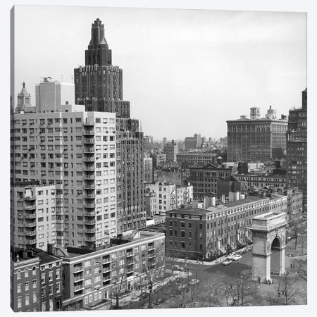 1950s View Washington Square North With Arch Fifth Avenue Buildings Number 1 & 2 Of Washington Square Park New York City NYC USA Canvas Print #VTG365} by Vintage Images Canvas Artwork