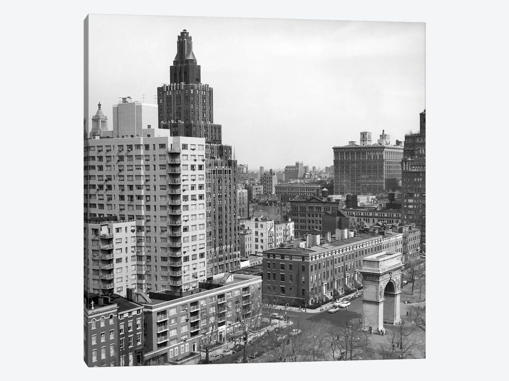 1950s View Washington Square North With Arch Fifth Avenue Buildings Number 1 & 2 Of Washington Square Park New York City NYC USA by Vintage Images 1-piece Canvas Print