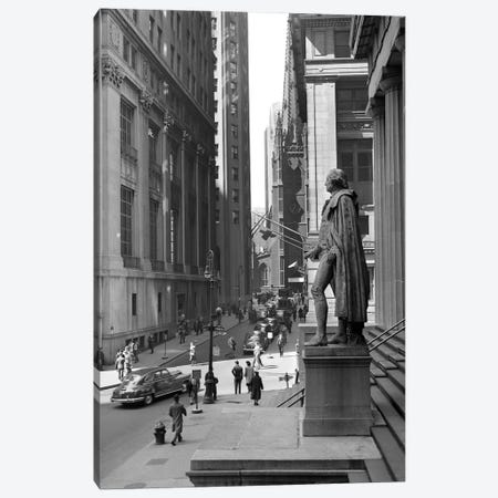 1950s Wall Street From Steps Of Federal Hall National Memorial Looking Towards Trinity Church In New York City USA Canvas Print #VTG366} by Vintage Images Canvas Art