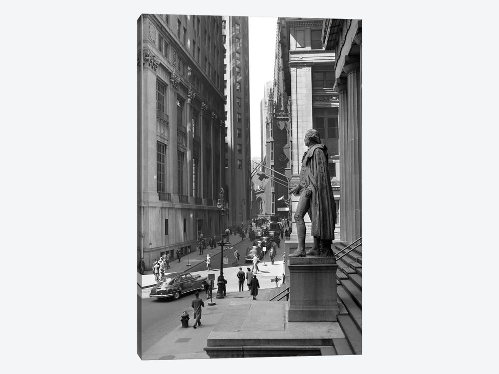 1950s Wall Street From Steps Of Federal Hall National Memorial Looking Towards Trinity Church In New York City USA by Vintage Images 1-piece Canvas Wall Art