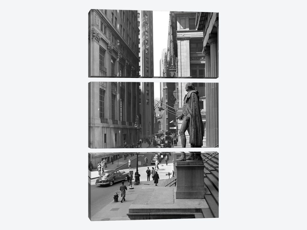 1950s Wall Street From Steps Of Federal Hall National Memorial Looking Towards Trinity Church In New York City USA by Vintage Images 3-piece Canvas Art
