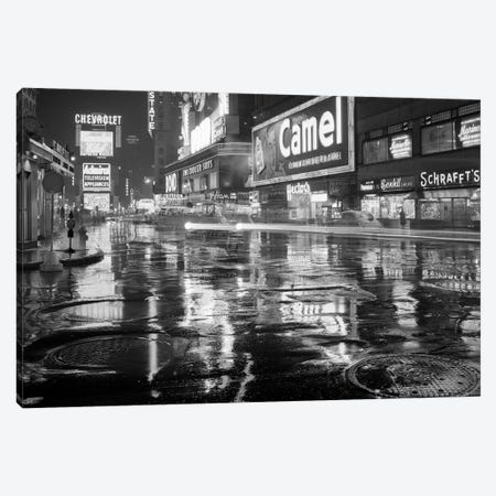 1950s Wet Rainy Streets Of Times Square At Night Neon Signs Advertising New York City NY USA Canvas Print #VTG367} by Vintage Images Canvas Art