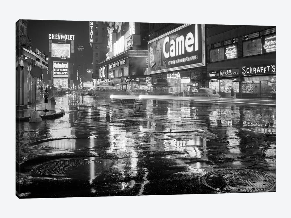 1950s Wet Rainy Streets Of Times Square At Night Neon Signs Advertising New York City NY USA 1-piece Art Print