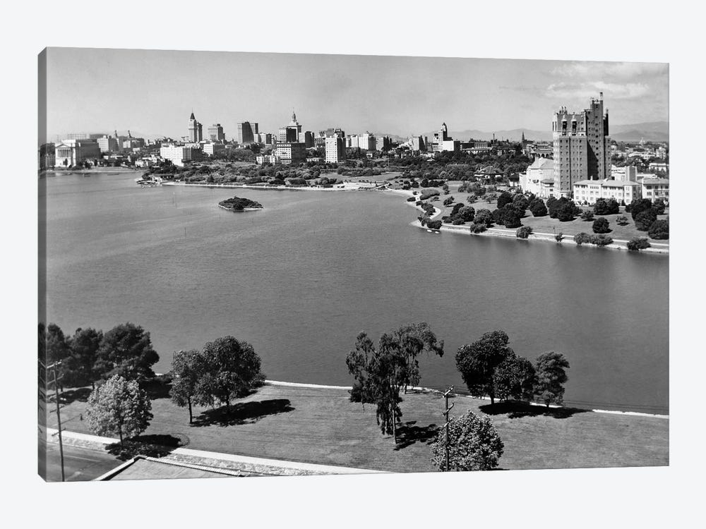 1950s With Lake Merritt In Foreground Skyline View Of Oakland California USA by Vintage Images 1-piece Canvas Art