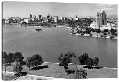 1950s With Lake Merritt In Foreground Skyline View Of Oakland California USA Canvas Art Print