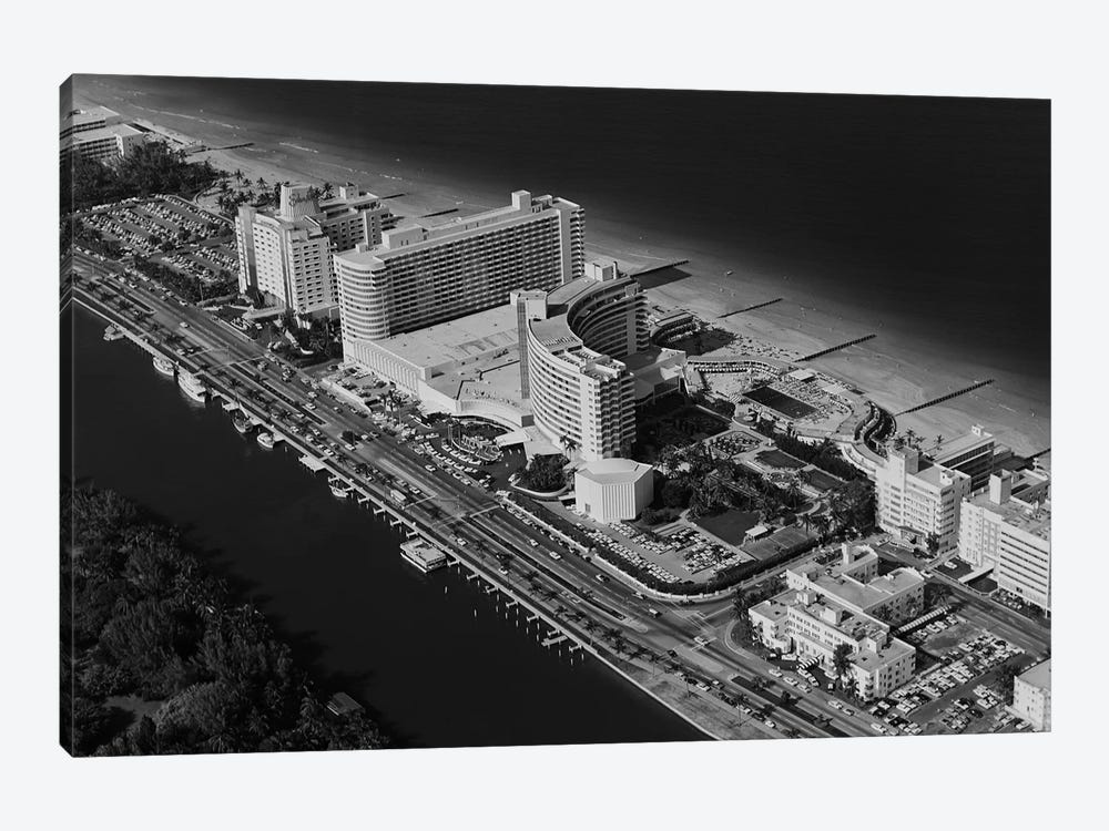 1950s-1960s Aerial View Fontainebleau Hotel Miami Beach Florida USA by Vintage Images 1-piece Canvas Print