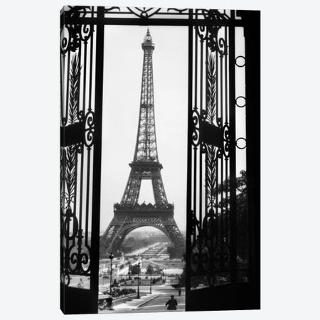 1920s Eiffel Tower Built 1889 Seen From Trocadero Wrought Iron Doors Paris France Canvas Print #VTG36} by Vintage Images Canvas Artwork