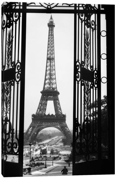 1920s Eiffel Tower Built 1889 Seen From Trocadero Wrought Iron Doors Paris France Canvas Art Print