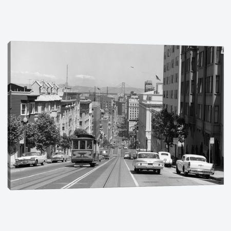 1950s-1960s Cable Car In San Francisco California USA Canvas Print #VTG372} by Vintage Images Canvas Artwork